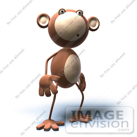 #44383 Royalty-Free (RF) Illustration of a 3d Monkey Mascot With A Confused Expression - Version 4 by Julos