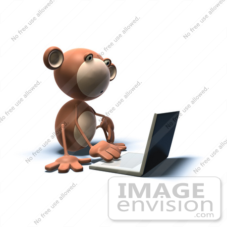 #44391 Royalty-Free (RF) Illustration of a 3d Monkey Mascot Using A Laptop - Version 2 by Julos