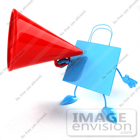 #44396 Royalty-Free (RF) Illustration of a 3d Blue Shopping Bag Mascot Announcing Through A Megaphone by Julos