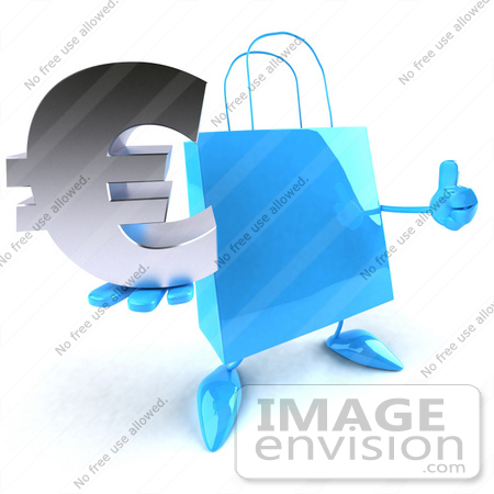 #44397 Royalty-Free (RF) Illustration of a Blue 3d Shopping Bag Mascot With Arms And Legs, Holding A Euro Symbol - Pose 2 by Julos
