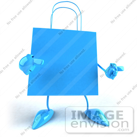 #44405 Royalty-Free (RF) Illustration of a 3d Blue Shopping Bag Mascot With Arms And Legs by Julos