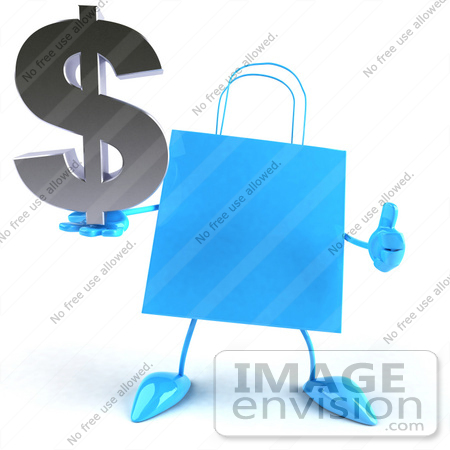 #44406 Royalty-Free (RF) Illustration of a Blue 3d Shopping Bag Mascot With Arms And Legs, Holding A Dollar Symbol - Pose 3 by Julos