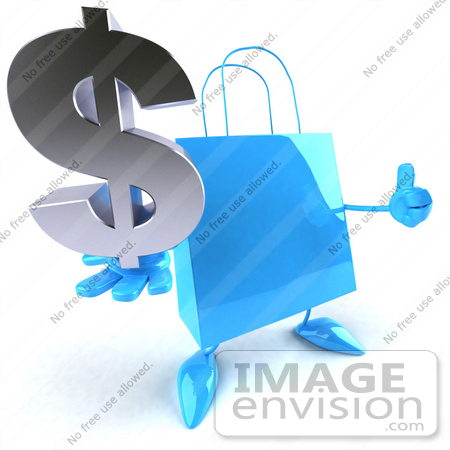 #44410 Royalty-Free (RF) Illustration of a Blue 3d Shopping Bag Mascot With Arms And Legs, Holding A Dollar Symbol - Pose 2 by Julos