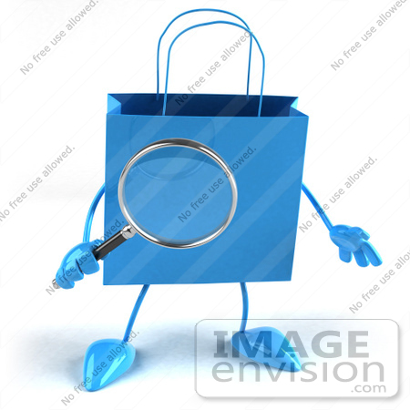 #44413 Royalty-Free (RF) Illustration of a 3d Blue Shopping Bag Mascot Holding A Magnifying Glass by Julos