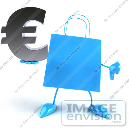 #44414 Royalty-Free (RF) Illustration of a Blue 3d Shopping Bag Mascot With Arms And Legs, Holding A Euro Symbol - Pose 4 by Julos