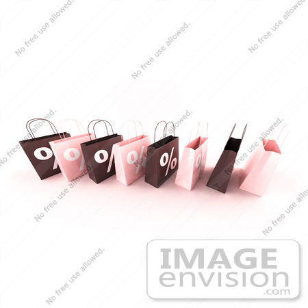 #44418 Royalty-Free (RF) Illustration of a Row Of 3d Pink And Brown Percent Sign Shopping Bags - Version 6 by Julos