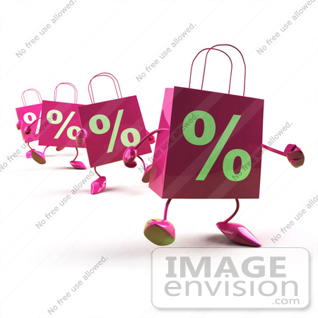 #44422 Royalty-Free (RF) Illustration of 3d Pink Percent Shopping Bags Walking Forward by Julos