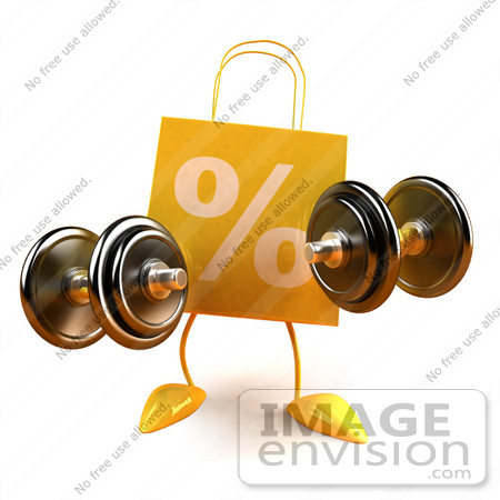 #44423 Royalty-Free (RF) Illustration of a 3d Yellow Percent Shopping Bag Mascot Holding Weights by Julos