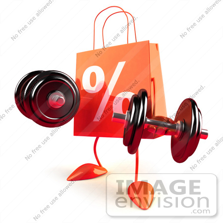 #44424 Royalty-Free (RF) Illustration of a 3d Orange Percent Shopping Bag Mascot Lifting Weights by Julos