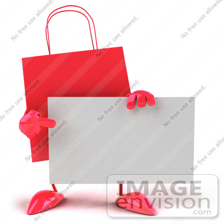 #44434 Royalty-Free (RF) Illustration of a 3d Red Shopping Bag Mascot Pointing At And Holding A Blank Business Card by Julos