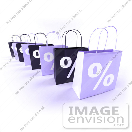 #44435 Royalty-Free (RF) Illustration of a Row Of 3d Purple Percent Sign Shopping Bags by Julos