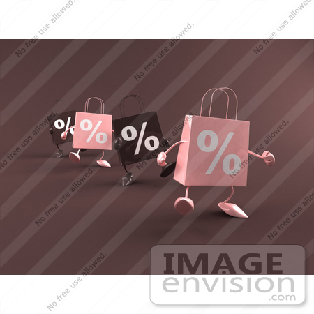 #44437 Royalty-Free (RF) Illustration of a Row Of 3d Pink And Brown Percent Sign Shopping Bags Walking Forward by Julos