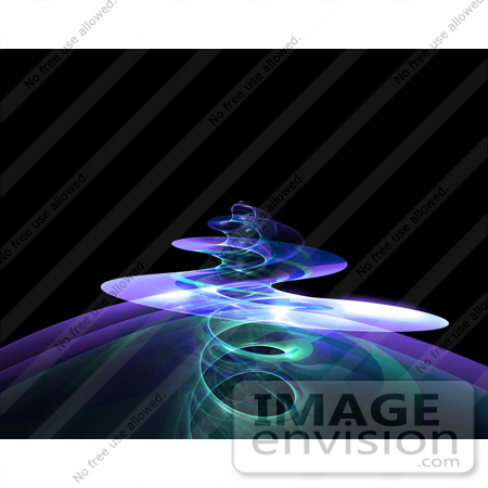 #44469 Royalty-Free (RF) Illustration of a Spiraling Purple Fractal Tendril Rising Over Black by Julos