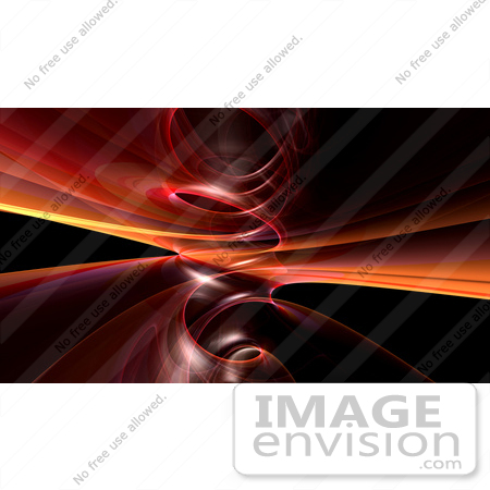 #44490 Royalty-Free (RF) Illustration of a Background Of Red And Orange Spiraling Fractals On Black - Version 1 by Julos
