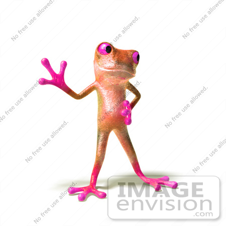 #44508 Royalty-Free (RF) Illustration of a Cute 3d Pink Tree Frog Mascot Waving - Pose 3 by Julos