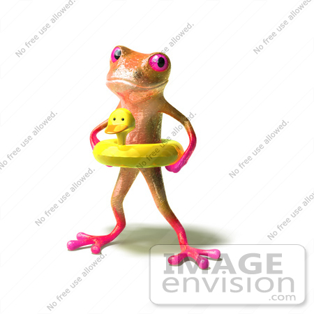 #44516 Royalty-Free (RF) Illustration of a Cute 3d Pink Tree Frog Mascot Wearing A Ducky Inner Tube - Pose 1 by Julos