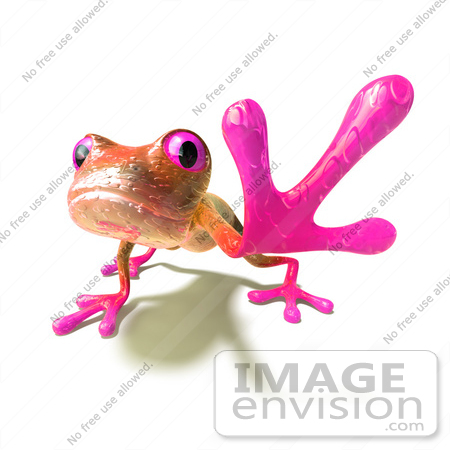 #44517 Royalty-Free (RF) Illustration of a Cute 3d Pink Tree Frog Mascot Reaching Outwards With His Foot - Version 1 by Julos