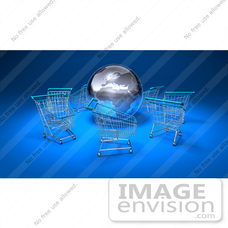 #44543 Royalty-Free (RF) Illustration of a 3d Globe Surrounded By Shopping Carts - Version 1 by Julos