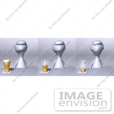 #44573 Royalty-Free (RF) Illustration of a 3d Human Like Character Shown In Three Drinking Stages by Julos