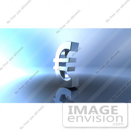 #44599 Royalty-Free (RF) Illustration of a 3d Euro Symbol On A Metallic Background - Version 1 by Julos