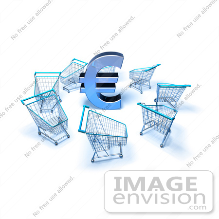 #44612 Royalty-Free (RF) Illustration of a 3d Euro Symbol Surrounded By Shopping Carts - Version 4 by Julos