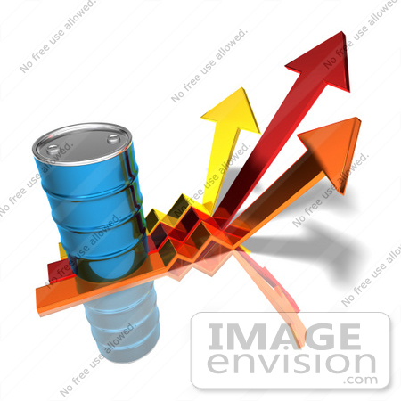 #44620 Royalty-Free (RF) Illustration of a 3d Blue Barrel Of Oil On Three Descending Arrows - Version 3 by Julos