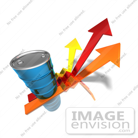#44622 Royalty-Free (RF) Illustration of a 3d Blue Barrel Of Oil On Three Descending Arrows - Version 2 by Julos