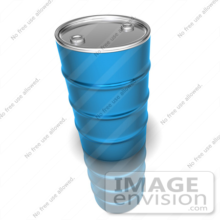 #44626 Royalty-Free (RF) Illustration of a 3d Blue Petrol Oil Barrel by Julos