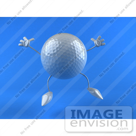 #44628 Royalty-Free (RF) Illustration of a 3d Golf Ball Mascot With Arms And Legs, Jumping - Version 2 by Julos