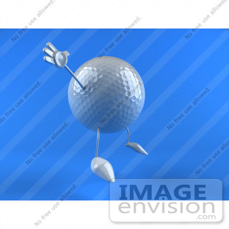 #44631 Royalty-Free (RF) Illustration of a 3d Golf Ball Mascot With Arms And Legs, Jumping - Version 3 by Julos