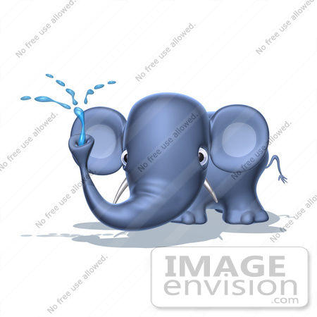 #44647 Royalty-Free (RF) Illustration of a 3d Blue Elephant Mascot Spraying Water - Pose 4 by Julos