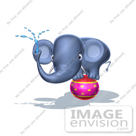 #44648 Royalty-Free (RF) Illustration of a 3d Blue Elephant Mascot Standing On A Circus Ball And Spraying Water - Pose 3 by Julos