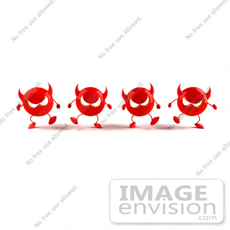#44689 Royalty-Free (RF) Illustration of a Row Of 3d Red Devil Mascots Marching Forward - Version 2 by Julos