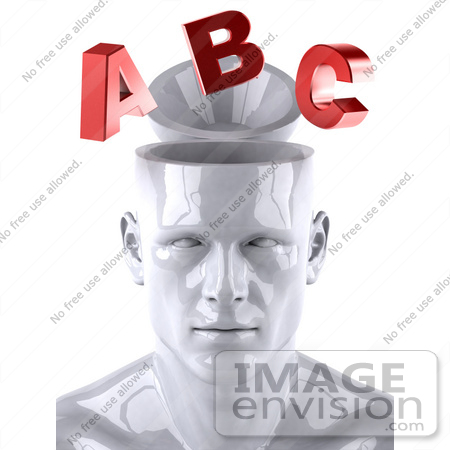 #44772 Royalty-Free (RF) Illustration of a Creative 3d White Man Character With Red Letters - Version 1 by Julos