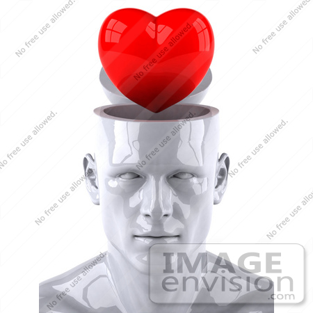 #44773 Royalty-Free (RF) Illustration of a Creative 3d White Man Character With A Red Heart by Julos