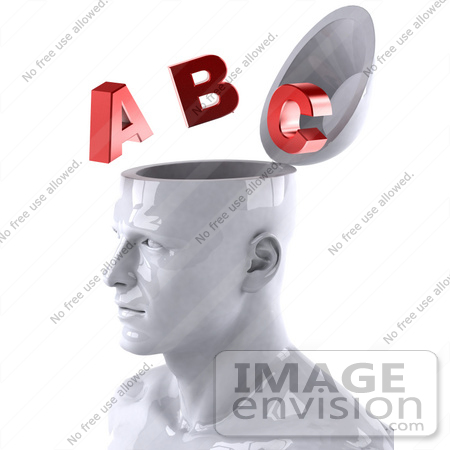 #44775 Royalty-Free (RF) Illustration of a Creative 3d White Man Character With Red Letters - Version 2 by Julos
