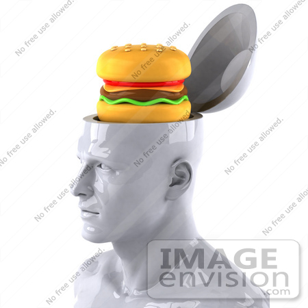 #44785 Royalty-Free (RF) Illustration of a Creative 3d White Man Character With A Cheeseburger - Version 1 by Julos
