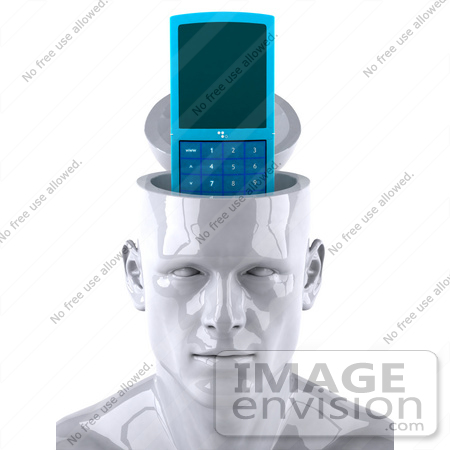 #44788 Royalty-Free (RF) Illustration of a Creative 3d White Man Character With A Cell Phone by Julos