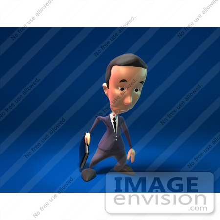 #44796 Royalty-Free (RF) Illustration Of A 3d White Businessman Mascot Pouting - Version 2 by Julos