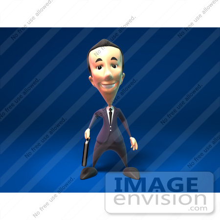 #44797 Royalty-Free (RF) Illustration Of A 3d White Businessman Mascot Standing And Facing Front - Version 2 by Julos