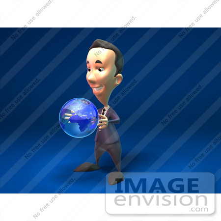 #44798 Royalty-Free (RF) Illustration Of A 3d White Businessman Mascot Holding A Globe - Version 2 by Julos