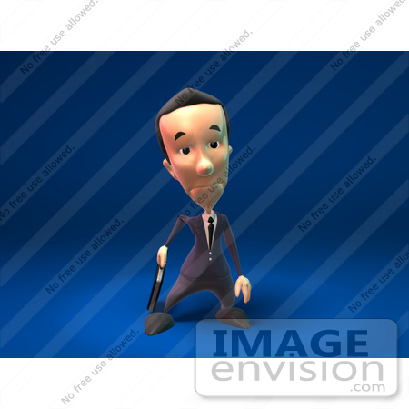 #44800 Royalty-Free (RF) Illustration Of A 3d White Businessman Mascot Pouting - Version 7 by Julos