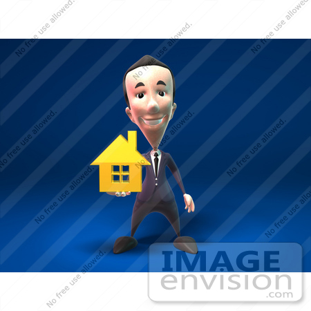 #44802 Royalty-Free (RF) Illustration Of A 3d White Businessman Mascot Holding Out A Golden Home - Version 1 by Julos