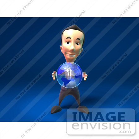 #44807 Royalty-Free (RF) Illustration Of A 3d White Businessman Mascot Holding A Globe - Version 1 by Julos