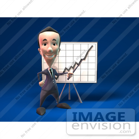 #44809 Royalty-Free (RF) Illustration Of A 3d White Businessman Mascot Discussing Statistics - Version 1 by Julos