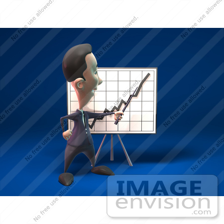 #44810 Royalty-Free (RF) Illustration Of A 3d White Businessman Mascot Discussing Statistics - Version 3 by Julos