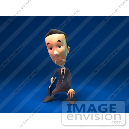 #44811 Royalty-Free (RF) Illustration Of A 3d White Businessman Mascot Pouting - Version 3 by Julos