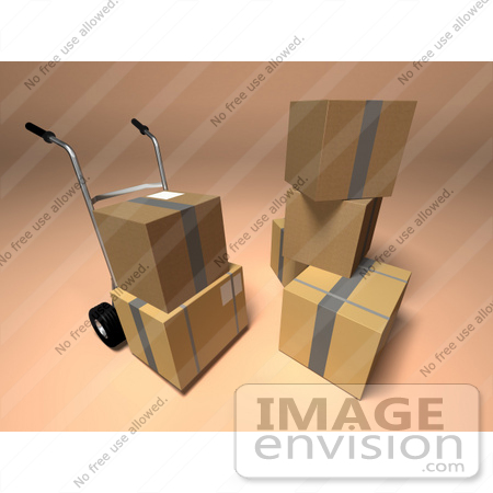 #45354 Royalty-Free (RF) Illustration Of 3d Cardboard Boxes With A Dolly - Version 1 by Julos
