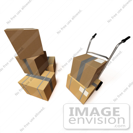 #45360 Royalty-Free (RF) Illustration Of 3d Cardboard Delivery Boxes With A Dolly - Version 7 by Julos