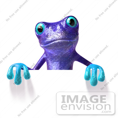 #46298 Royalty-Free (RF) Illustration of a Cute 3d Purple Tree Frog Mascot Standing Behind Blank Sign by Julos
